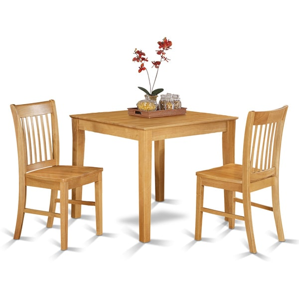 Oak small square kitchen table 3 piece set 17343882 for Square dinette sets
