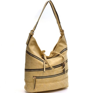 Dasein Gold-Tone Quilted Hobo Bag with Front Zipper Deco