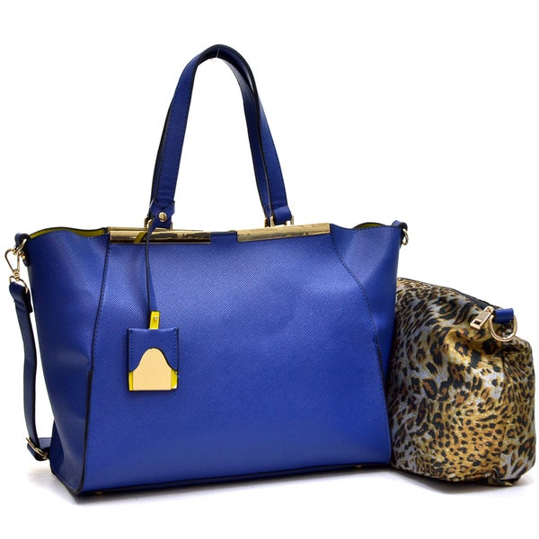 Dasein Crosshatch Winged Gold-Tone Colorblock Satchel Bag