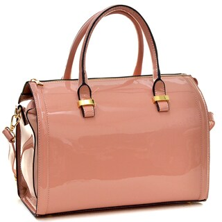 Dasein Dasein Patent Faux Leather Barrel Body Satchel