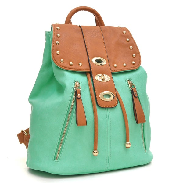 Dasein Two-Tone Studded Backpack with Drawstring