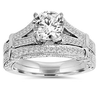 14k White Gold 2 ct TDW Clarity Enhanced Diamond Vintage Engagement Wedding Ring Set (H-I, I1-
