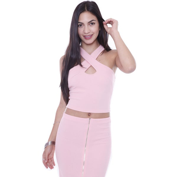 Juniors' Pink Wrap Around Cut Out Halter Top