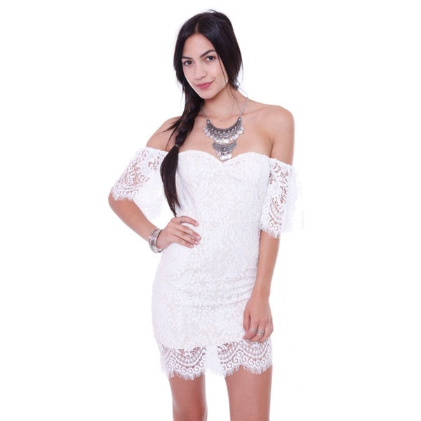 Juniors' Embroider Mesh Off Shoulder Mini Dress
