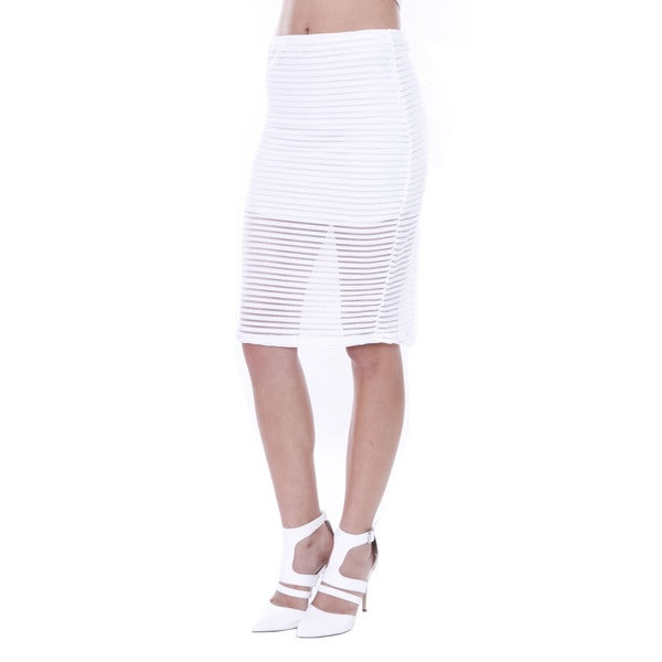 Juniors' White Sheer Stripped Midi Skirt