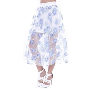 Juniors' Floral Midi Tulle Skirt