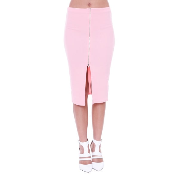 Juniors' Pink Midi Skirt With Front Zipper