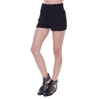 Juniors' Strechy Black Smocked Shorts