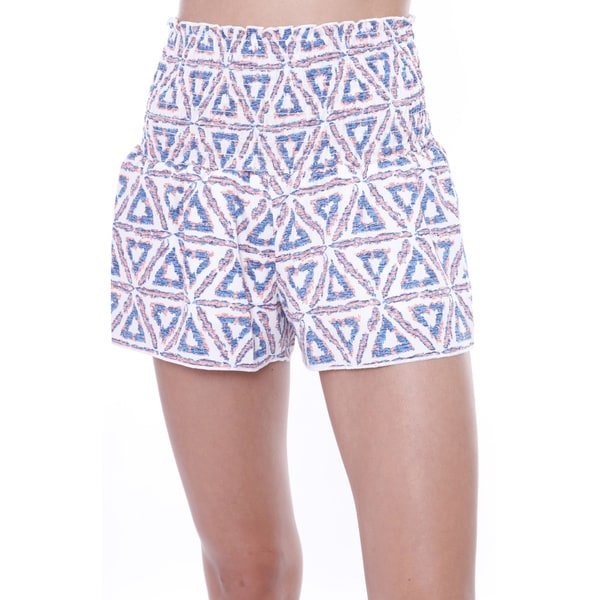 Juniors' Neon Triangle Print Smocking Shorts