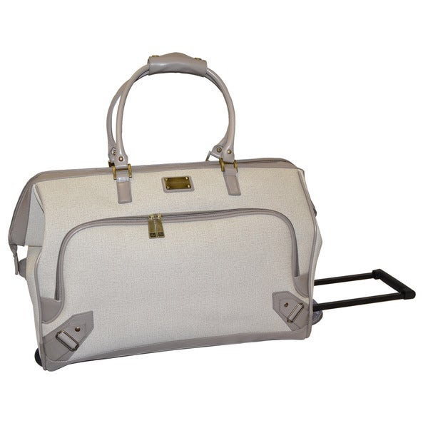 Adrienne Vittadini Linen 22 Inch Carry On Rolling Duffel