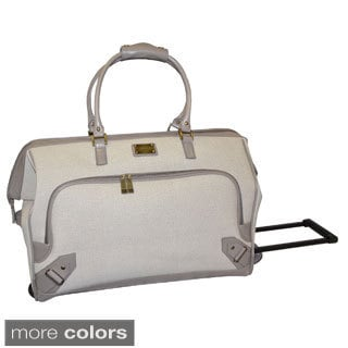 Adrienne Vittadini Linen 22-inch Carry On Rolling Duffel Bag