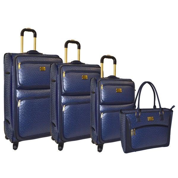 Adrienne Vittadini Croco 4-piece Wheeled Luggage Collection