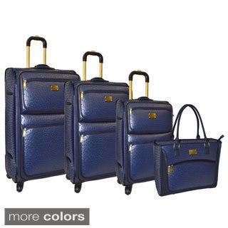 Adrienne Vittadini Croco 4-piece Spinner Luggage Set