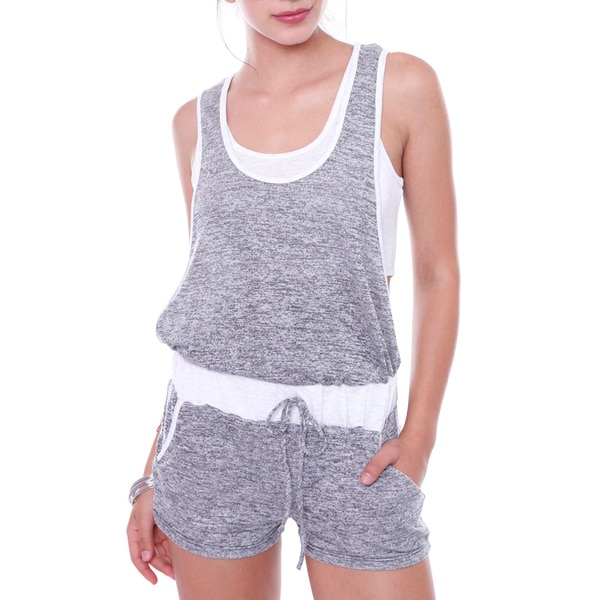 Juniors' Short Romper With Crop Top Attached