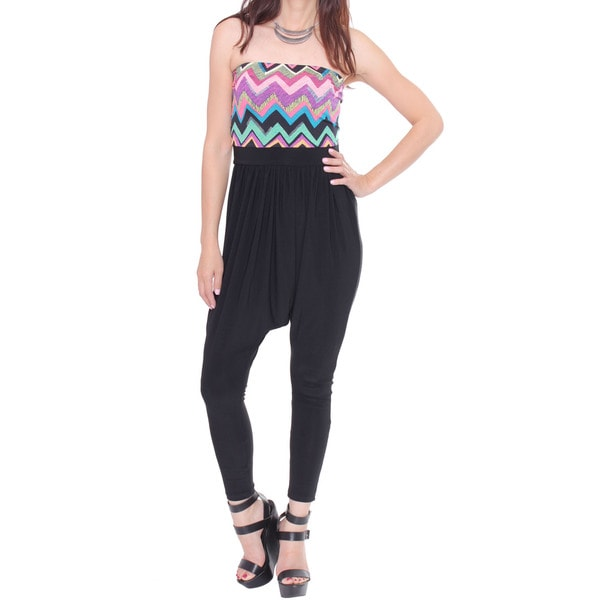 Juniors' Printed Jumpsuit With Strapless Top
