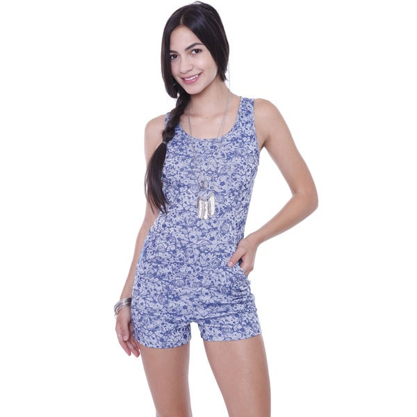 Juniors' Floral Denim Blue Romper Shorts