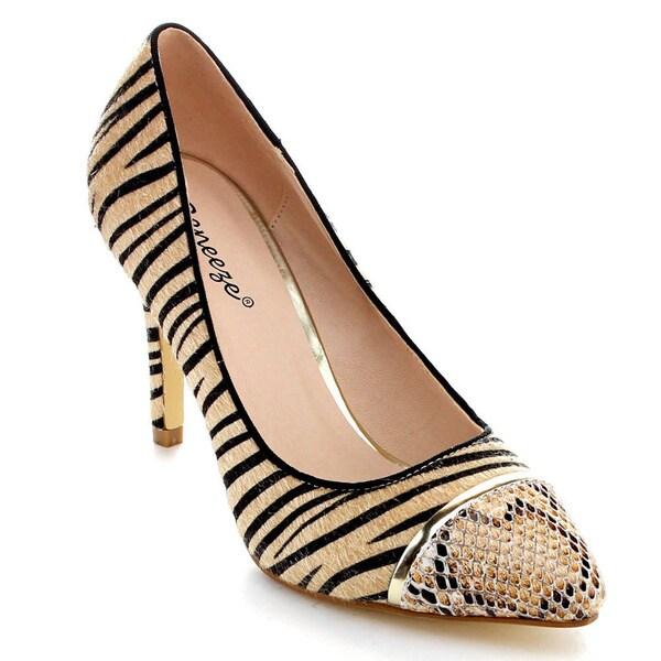 Reneeze OSANA-02 Women's Faux Snake/ Furry Zebra Skin Print Stiletto Pump Heels