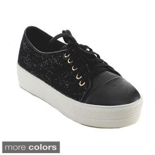 Reneeze OLA-01 Women's Glittery Floral Platform Lace-up Sneakers