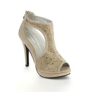 Beauty Heel CAITLIN-15 Women's Open Toe Chic Rhinestone Deco Mesh Platform Heels