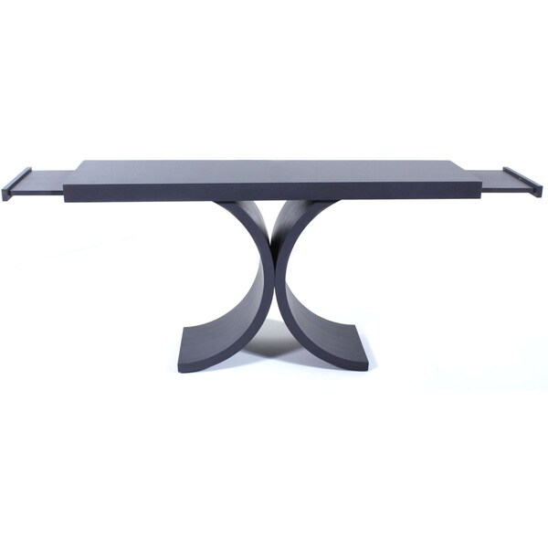 COUEF Label Giana Console Table with Two Pull Out Shelves in Distressed Dark Gray