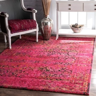 nuLOOM Traditional Vintage Modern Cherry Pink Rug (5'3 x 7'7)