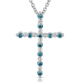 Suzy Levian 14k White Gold 0.4ct TDW Blue and White Diamond Cross Pendant with Chain (H-I, SI1-SI2)