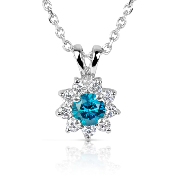 Suzy Levian 14k White Gold .61ct TDW Blue and White Diamond Floral Center Stone Pendant Necklace (H-I, SI1-SI2)