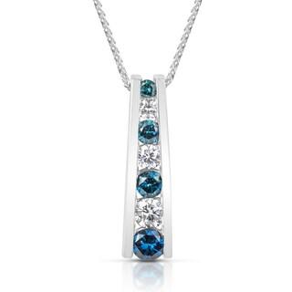 Suzy Levian 14k White Gold 0.5ct TDW Blue and White Diamond Graduating Pendant Necklace (H-I, SI1-SI2)