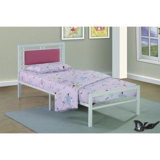 Metal Frame White/Pink Bed