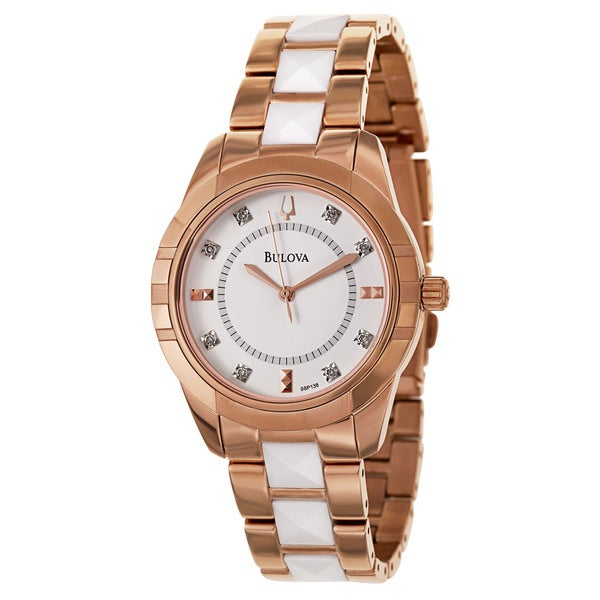 Bulova Women's 'Diamonds' Stainless Steel Rose Gold Plated Quartz Watch