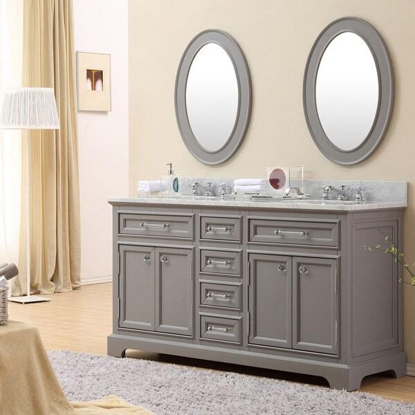 Water Creation Derby 60G 60-inch Cashmere Grey Double Sink Bathroom Vanity