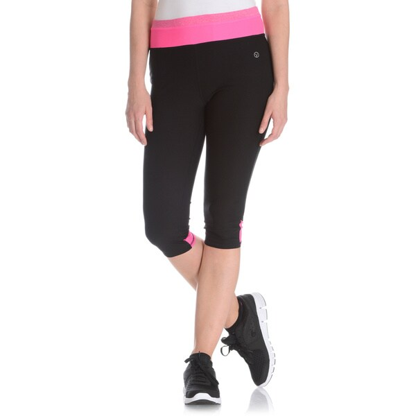 Vogo Performance Women's Colorblock Mesh Inset Capri Legging