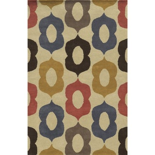Bradberry Downs Beige/ Blue/ Rust/ Gold/ Grey/ Chocolate Wool Accent Rug (9' x 12')