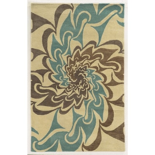 Bradberry Downs Ivory/ Teal/ Brown/ Medium Brown Wool Accent Rug (9' x 12')