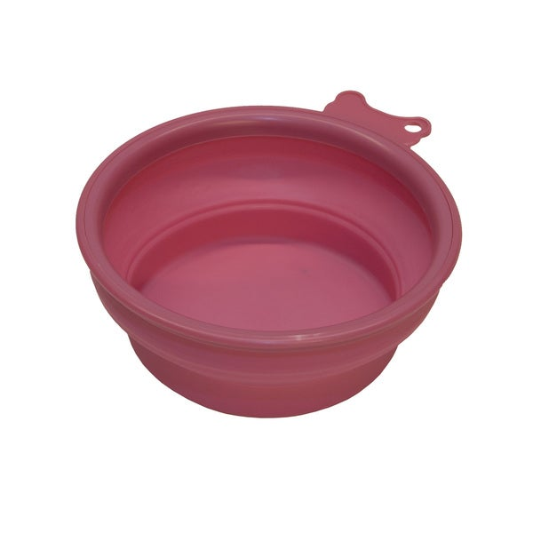 PetBuddy Pet Pink Travel Bowl Silicone Collapsible Feeder Water Dish