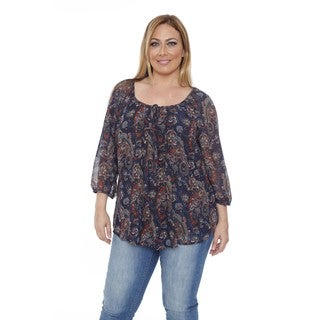 White Mark Women's Plus Size 'Desiree' Navy Chiffon Blouse
