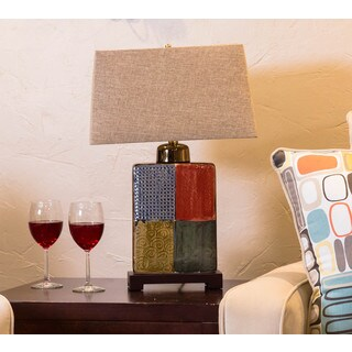Somette Vanguard Series Multicolor Rectangular Porcelain Table Lamp