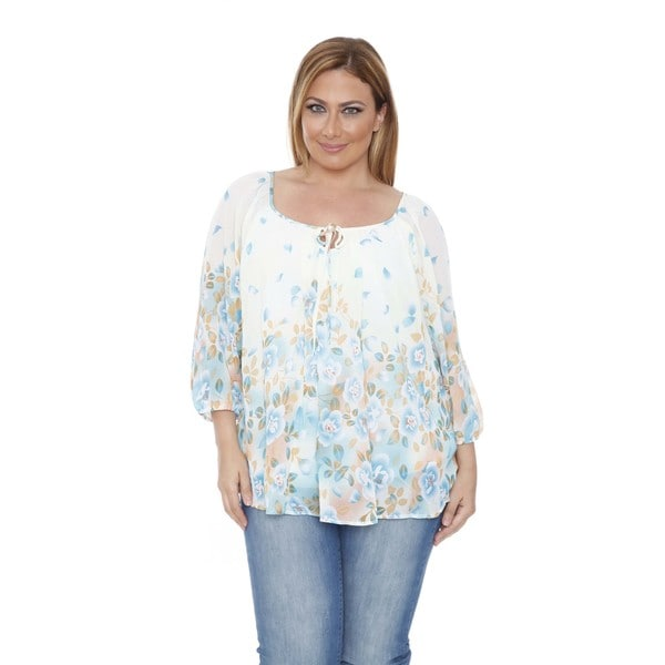 Women's Plus Size 'Desiree' Ivory/ Blue Chiffon Blouse