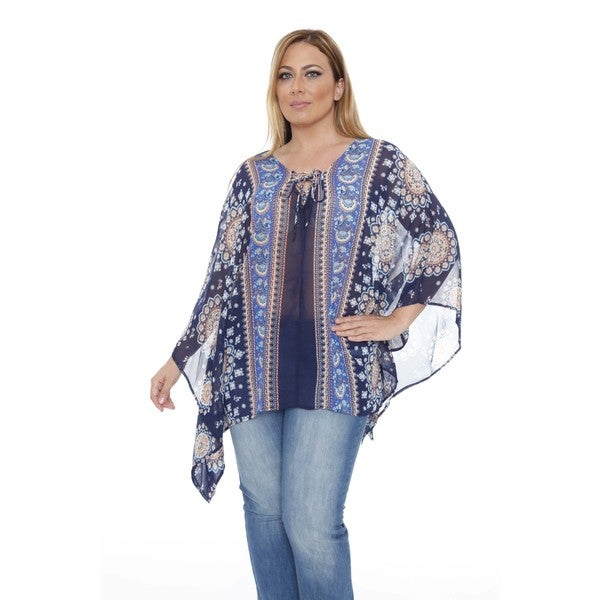 Women's Plus Size 'Breeze' Navy/ Royal Poncho Top Tunic