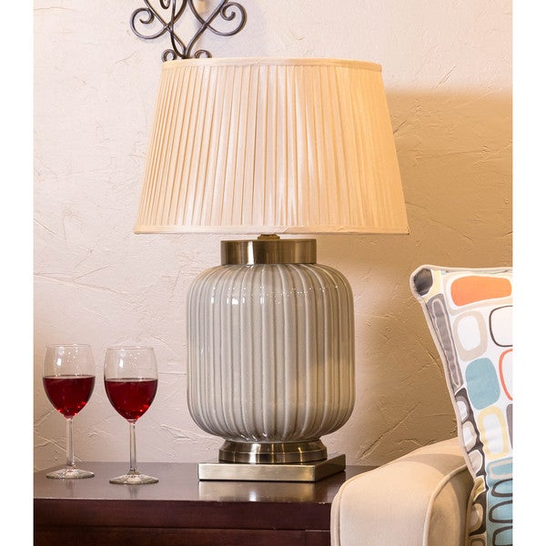 Somette Vanguard Series Fluted Pale Green Porcelain Table Lamp