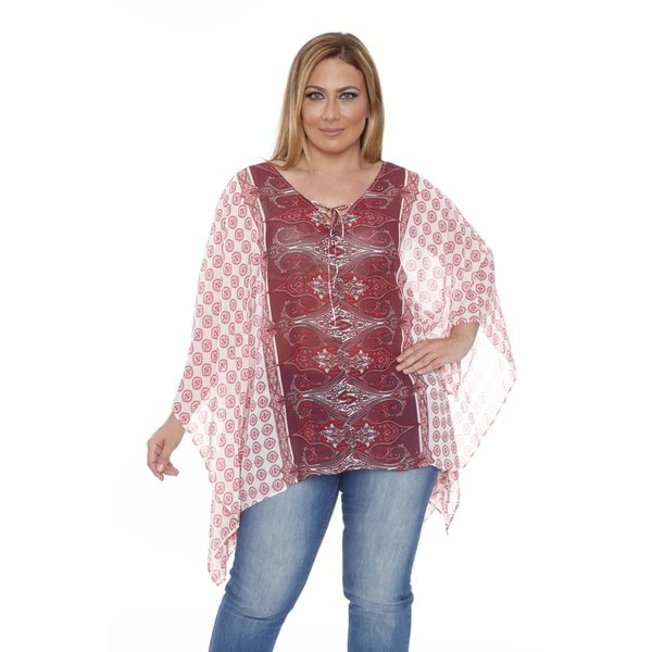 Women's Plus Size 'Breeze' Ivory/ Burgundy Poncho Top Tunic