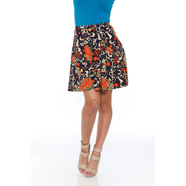 White Mark Women's Orange/ Navy Flared Mini Skirt