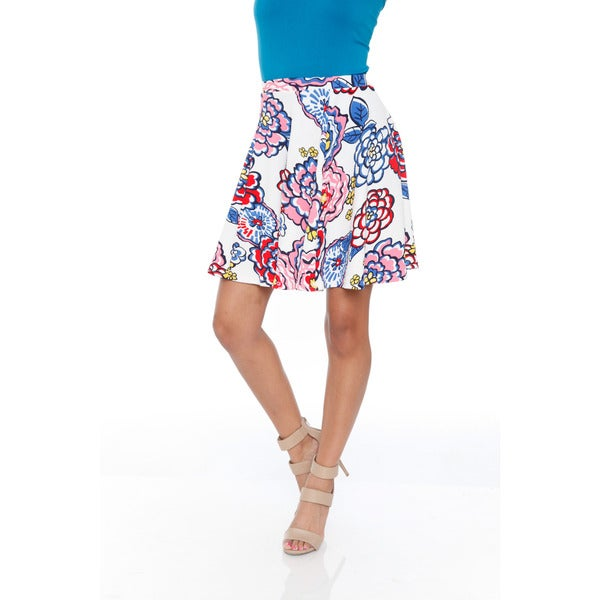 White Mark Women's Blue/ Pink Flowers Flared Mini Skirt