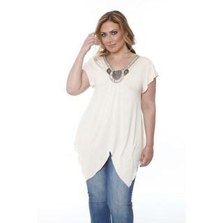 Women's Plus-size 'Fenella' Glimmering Embellished Neck Top