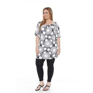 Women's Plus Size 'Thyra' Black and White Medallion Flowers Dress Tunic