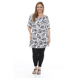 Women's Plus Size 'Thyra' Black and White Chains and Flowers Dress Tunic