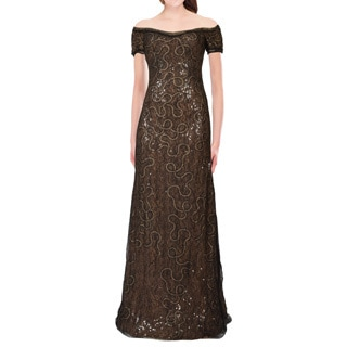 Rene Ruiz Off Shoulder Lace Sequined Evening Dress