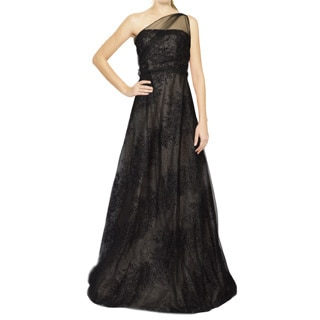 Rene Ruiz Black One Shoulder Metallic Tulle Evening Dress