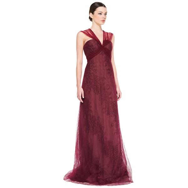 Rene Ruiz Claret Sleeveless Metallic Flocked Evening Gown