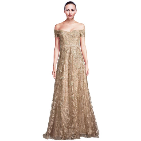 Rene Ruiz Gold Metallic Off Shoulder Embroidered Evening Gown